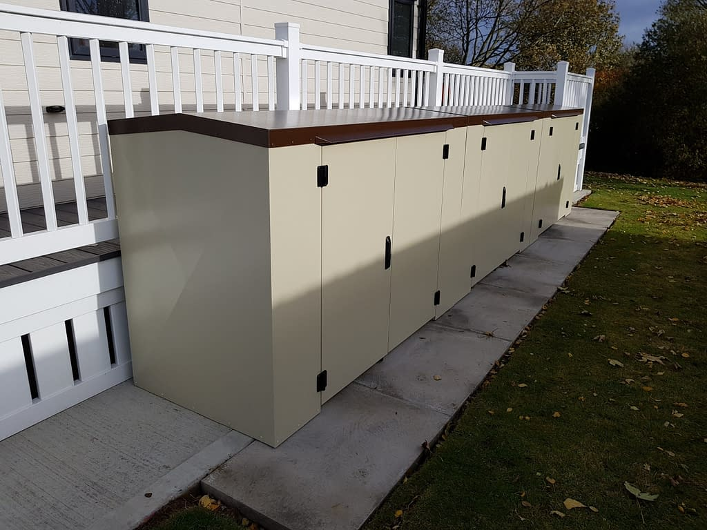 4Ft Tall Mushroom and Vandyke Brown Caravan Storage Boxes
