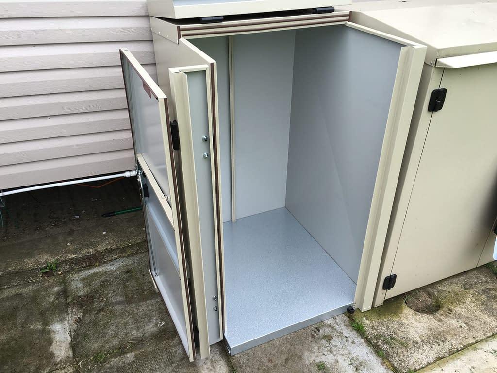 A Mushroom Bespoke Caravan Storage Box to hold a Barbecue